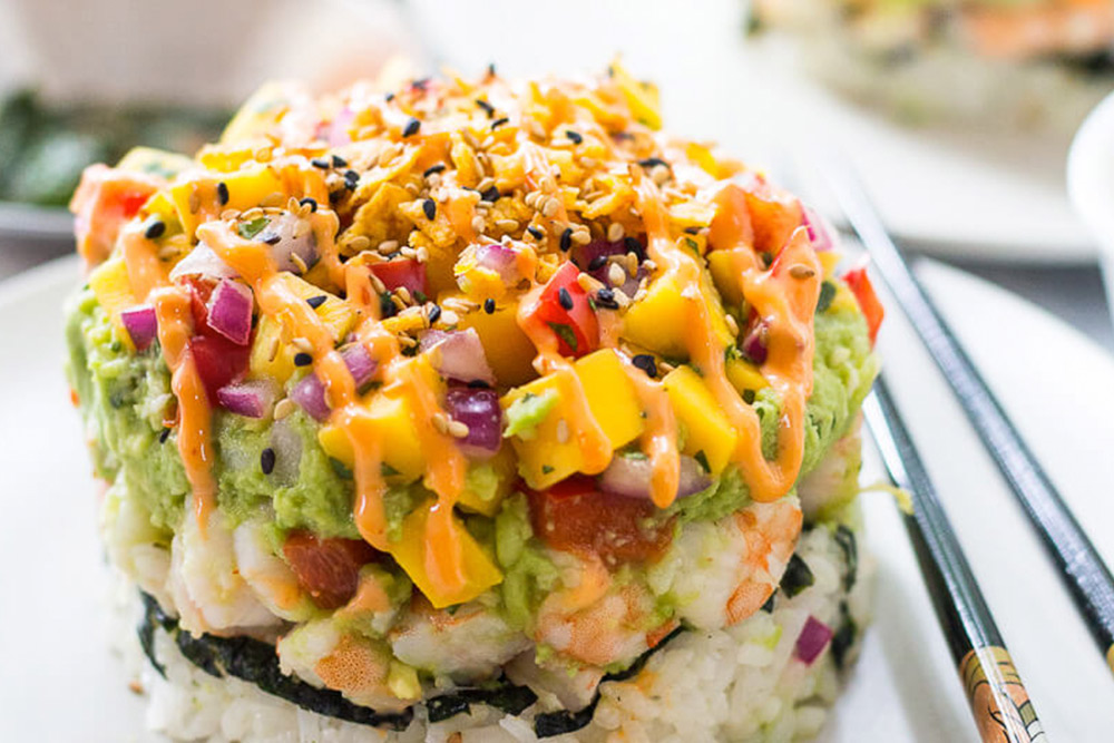 Spicy Shrimp Stacks with Mango Salsa